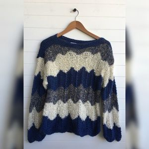 [Point of View] Vintage Chevron Hand Knit Sweater